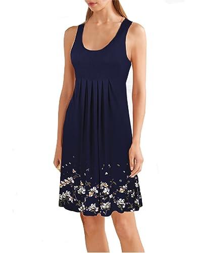 Ineffable Summer Casual Loose Print Pleated Sleeveless Vest Dresses
