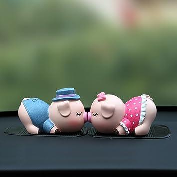 Amazoncom Cute Couple Pig Car Decoration Display Accessory