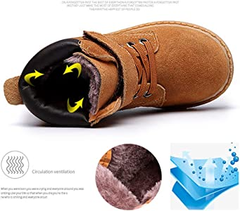 Boys Girls Waterproof Warm Leather Winter Boots Cold Weather Flat Bootie  Shoes(Toddler Little Kid) 449082608390
