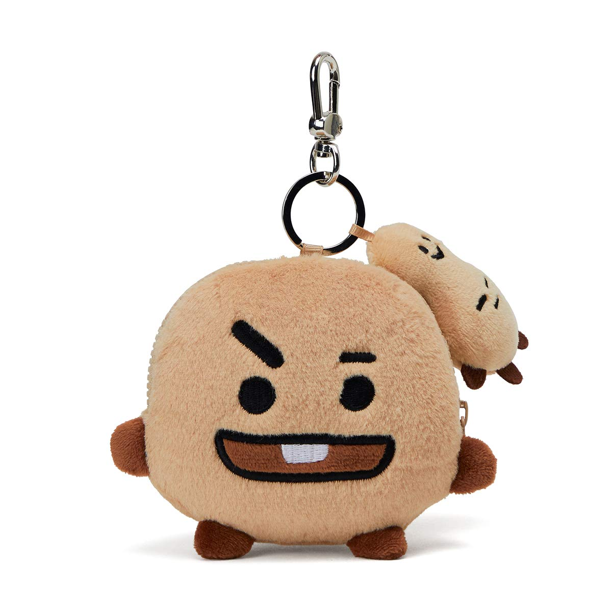 BT21 Official Merchandise by Line Friends - SHOOKY Character Keychain Coin Purse Bag Charm, Brown
