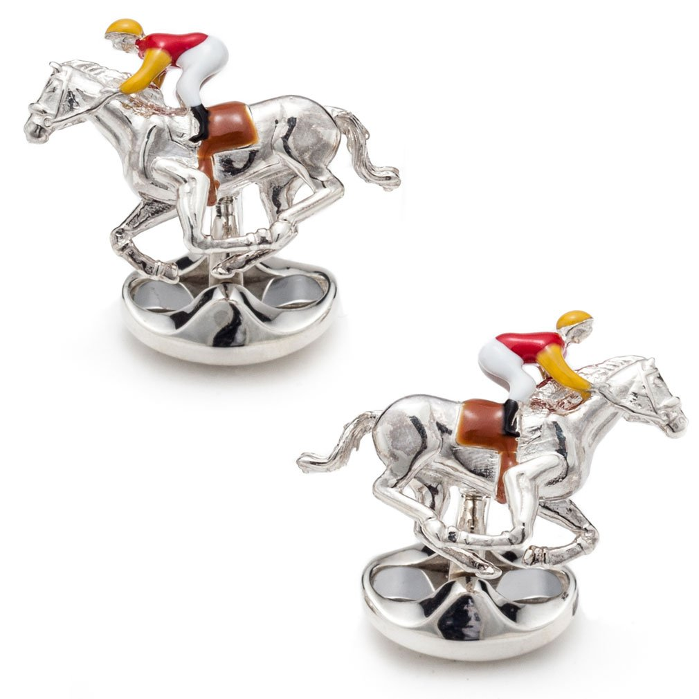 Deakin and Francis Men's Horse and Jockey Cufflinks - Red/Yellow