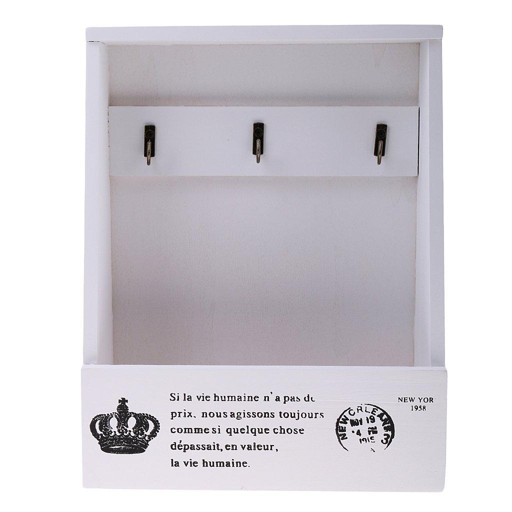 Sharplace Cassetta Portaoggetti Da Muro Retro Portalettere Scatola Portachiavi Organizzatore Decorazione Casa - bianca