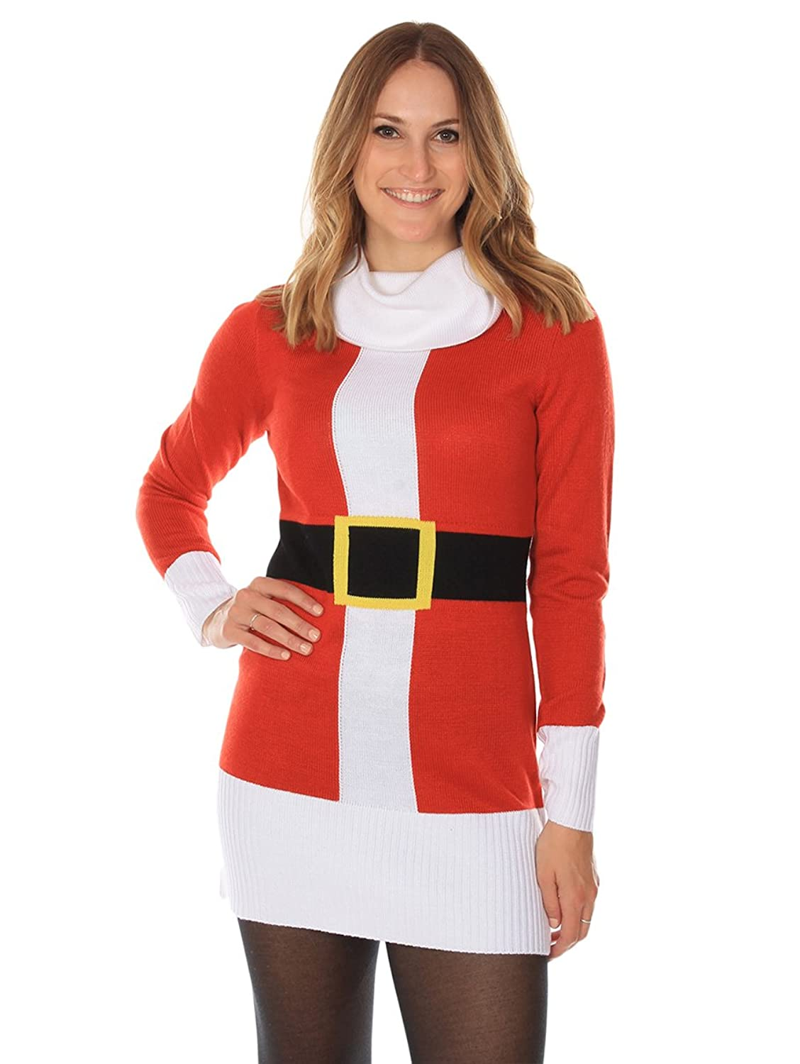 Women's Ugly Christmas Sweater - Santa Claus Sweater Dress Red ...