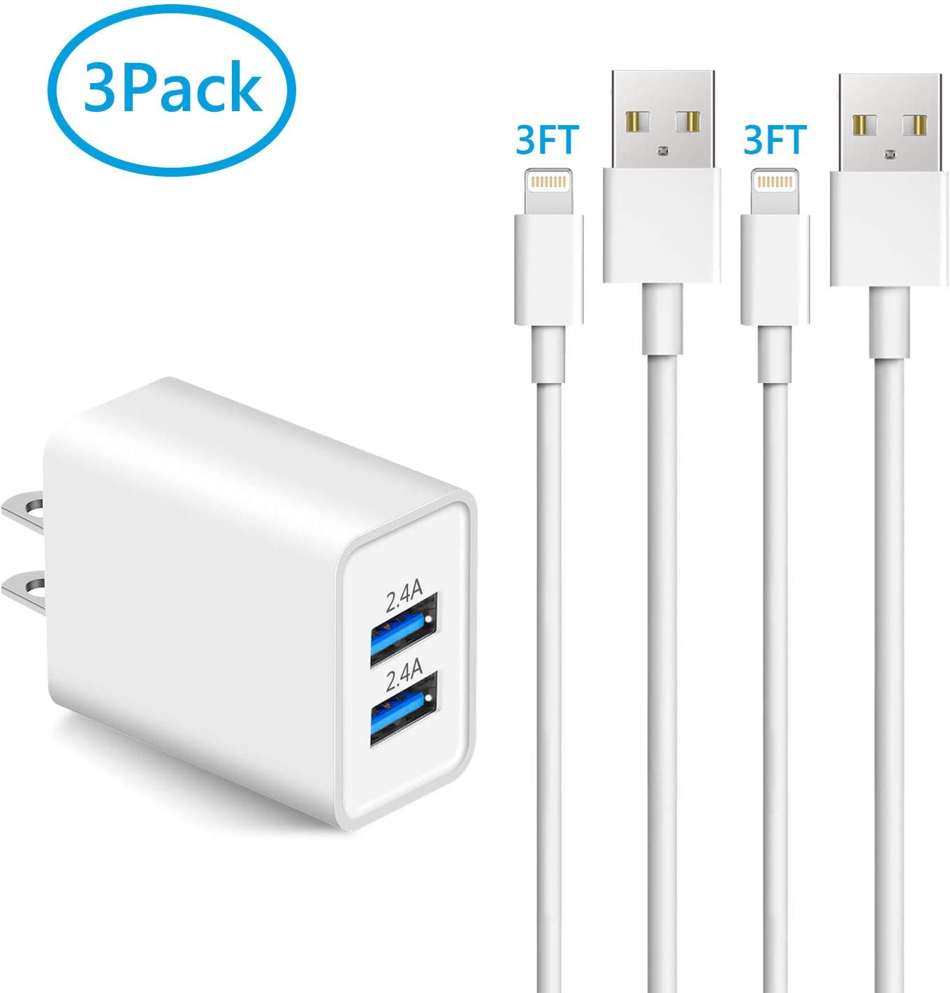 Sundix iPhone Charger, 24W Dual USB Wall Charger with 2Pack Lightning Cable (3FT+6FT) Charge Sync Fast Charger (3-in-1) Compatible with iPhone 11/XS MAX/XR/X/8/7/6S/6/Plus/5/iPad/iPod
