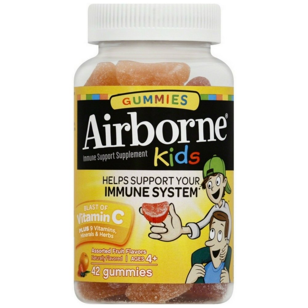 Airborne Kids Assorted Fruit Flavored Gummies, 42 count - 667mg of Vitamin C and Minerals & Herbs Immune Support (Pack of 4)