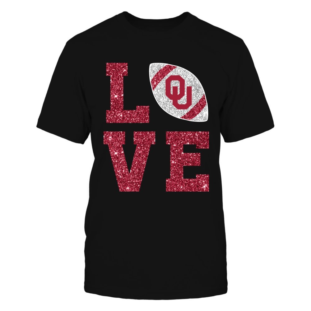 Oklahoma Sooners - Love Football Glitter - Gildan Unisex T-Shirt - Officially Licensed Fashion Sports Apparel by FanPrint (Image #1)
