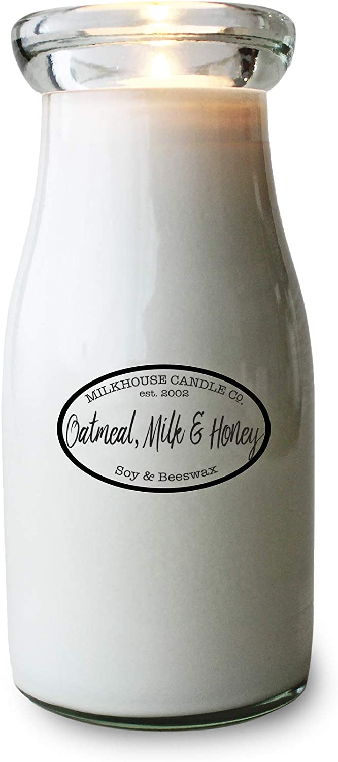 Milkhouse Candle Company, Creamery Collection, Scented Soy Candle: Milkbottle, Oatmeal, Milk & Honey, 8oz