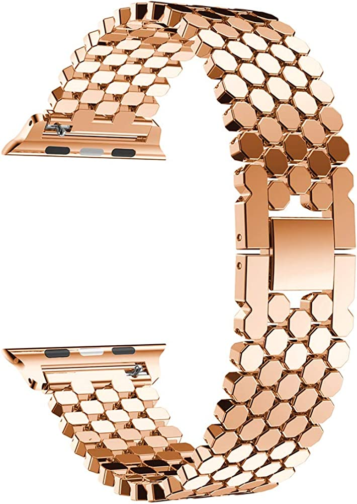 Compatible with Apple Watch Band - Fish Scale Grain Replacement Band Women Stainless Steel Bracelet Metal Wrist Strap Bangle Bracelet Accessories for iWatch Band Series 4 3 2 1