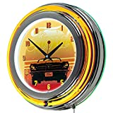 Trademark Gameroom Ford Chrome Double Rung Neon Clock - Mustang