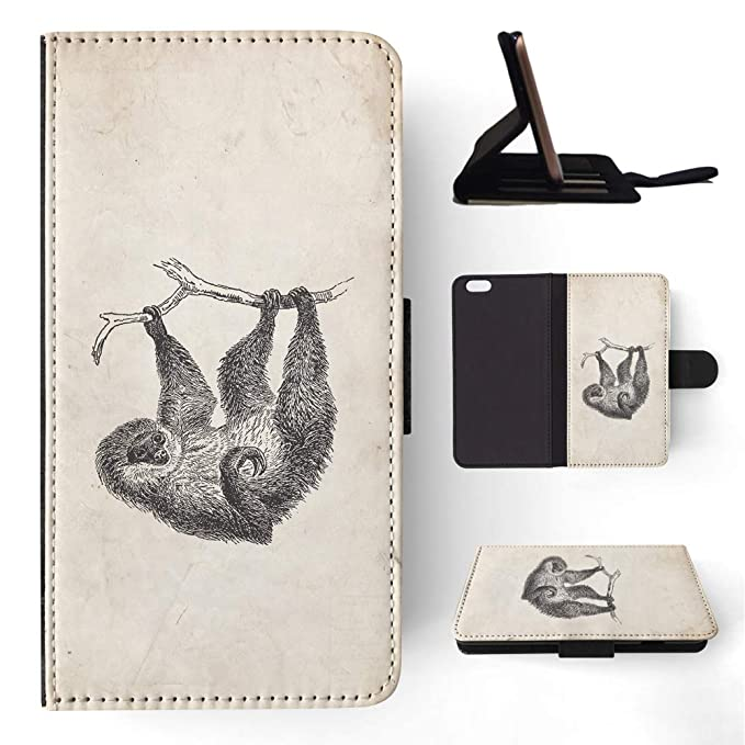 quality design 4152a a69f9 Amazon.com: Two-Toed-Sloth Flip Wallet Phone Case Cover for Apple ...