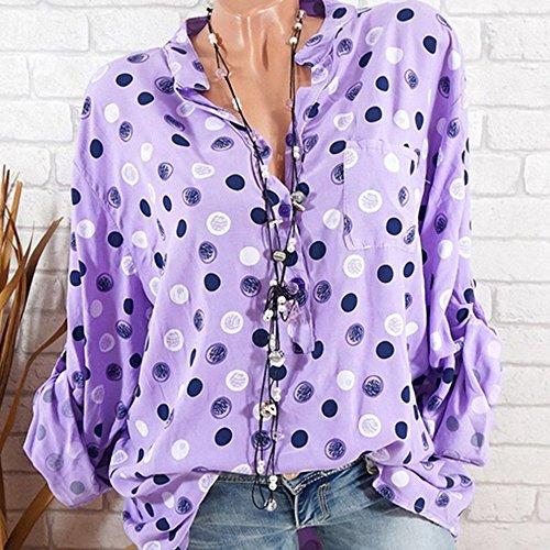 Chemise Shirt Manches Femme Imprim pour Top Femme Decha T t Sexy de Blouse Shirt Clair Haut Tee Violet Chic Longues Loisir 1vnqwn8CSx