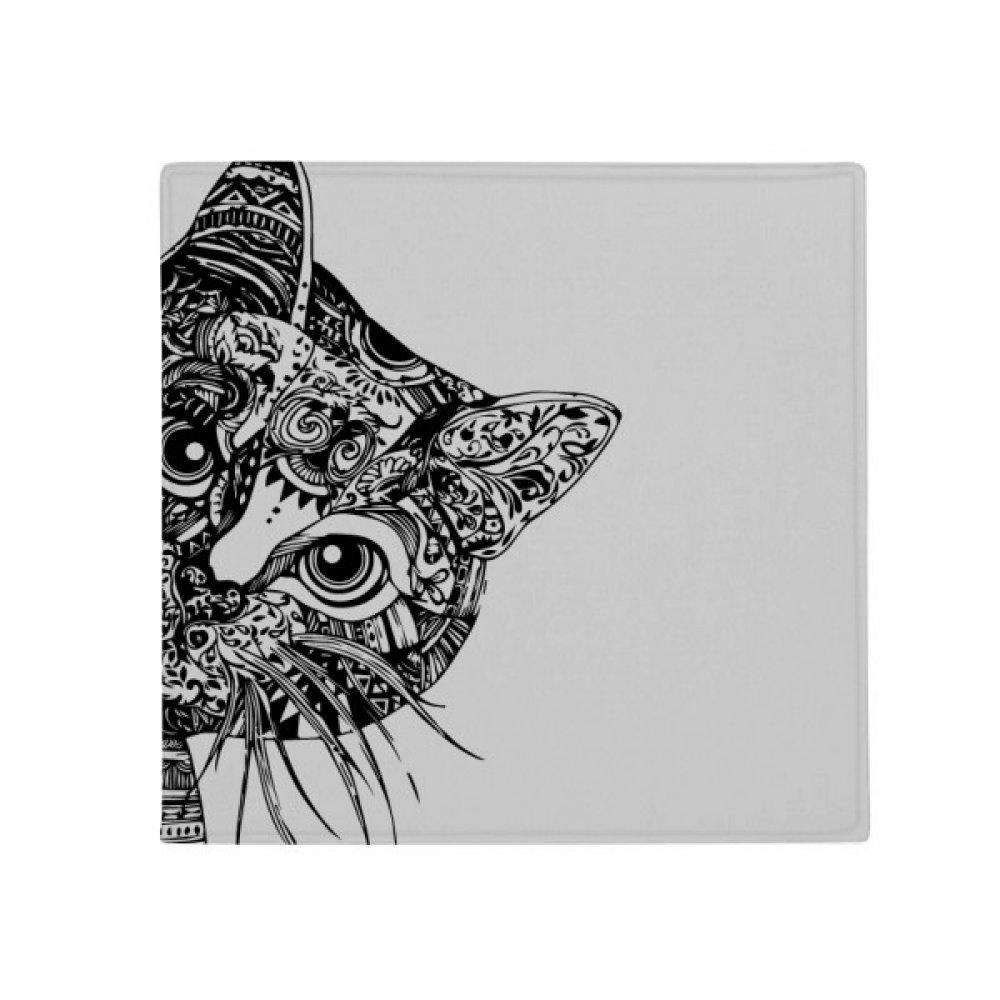 DIYthinker Line Drawing Black Cat Head Animal Anti-Slip Floor Pet Mat Square Home Kitchen Door 80Cm Gift