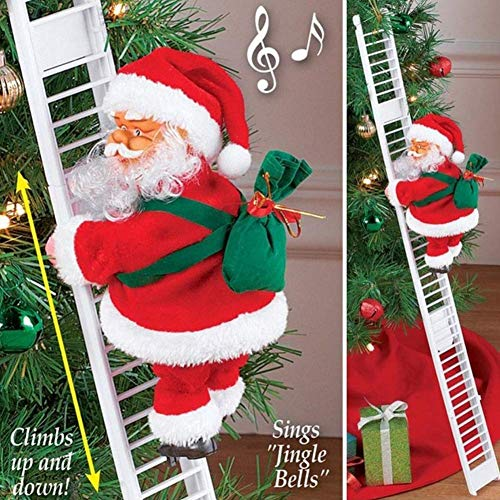 Stonecho Electric Santa Climbing Ladder to Tree