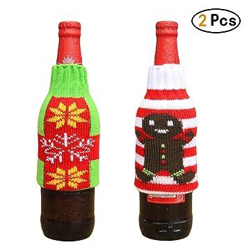 Lefu 2PCS Decoración de la Mesa Navidad Ropa Punto Funda para Botella Vino, Biscuit Man