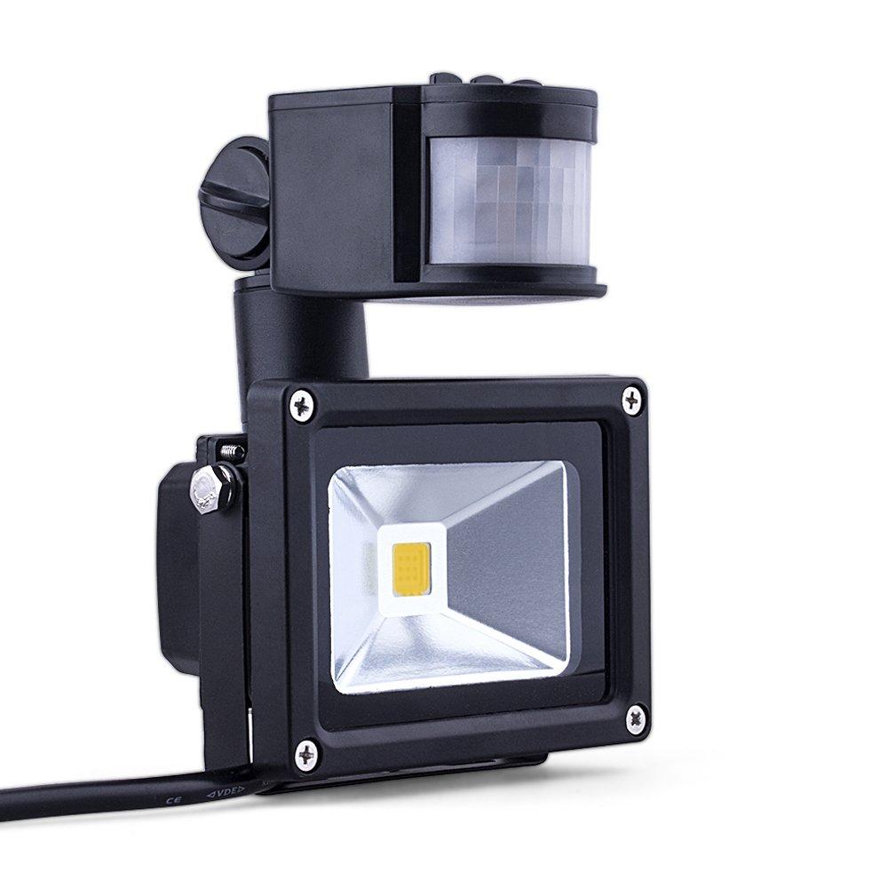 (Promotions) Comwinn LED Motion Sensor Flood Light, 10W Warm White, 3200K, 900lm, Waterproof Security Lights with PIR for Home,Garden,Garage etc.