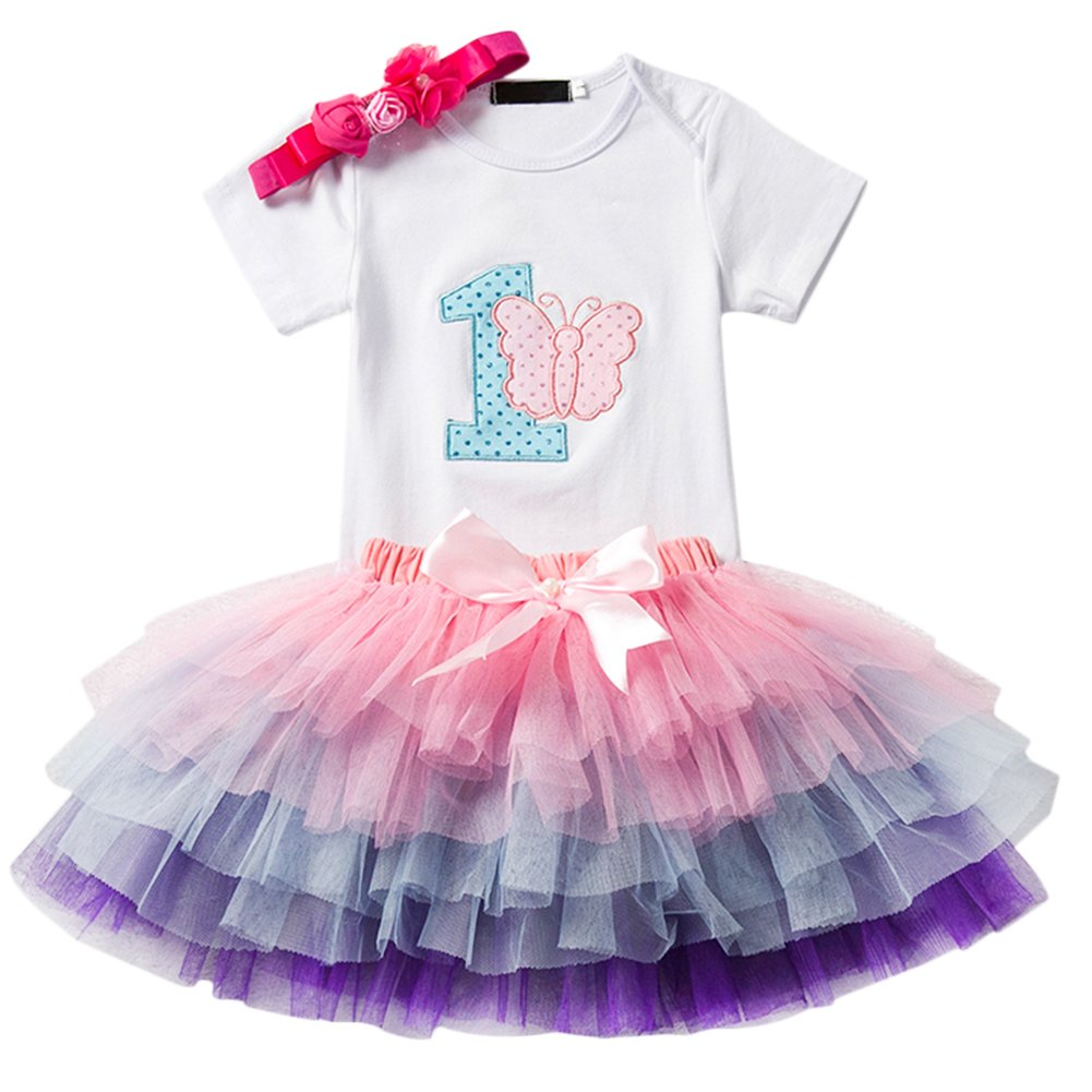 IWEMEK Baby Girl 1st Birthday Cake Smash Outfit Romper Tutu Skirt+Headband Set