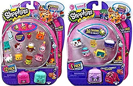 NEW SHOPKINS SEASON 5-12 Pack /& 2 CHARMS BACKPACK TOY FIGURE