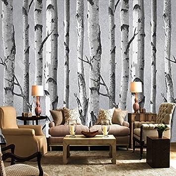 Leegt 3d Tapete Wallpaper Mural Hand Gemalte Weisse Birke Muster