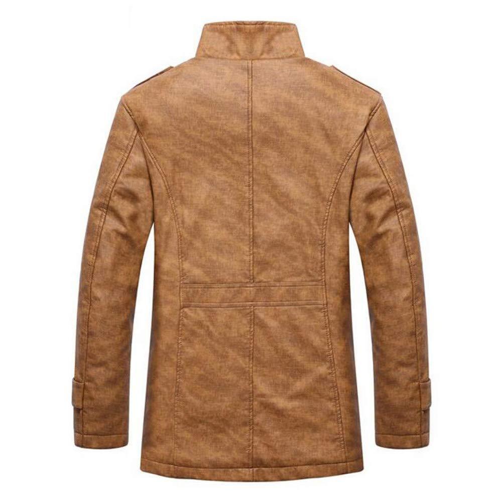 LILICAT Moda Hombre Otoño e Invierno Sin Cuello De Pie Botón Casual Camisa de Abrigo Chaqueta de Cuero PU Caliente