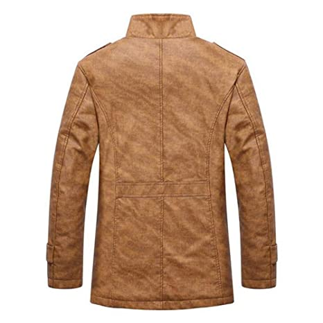 Overdose Outwear Hombres OtoñO Invierno Casual Button Moda Chaquetas De Abrigo De Cuero TéRmico Abrigos Chaqueta De Hombres Abrigo: Amazon.es: Ropa y ...
