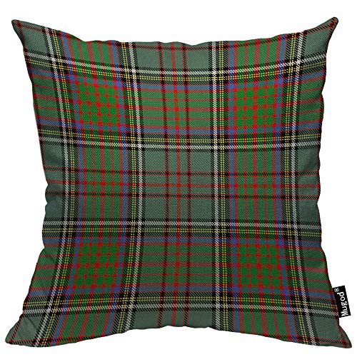 Mugod Plaid Checker Throw Pillow Cover Classic Tartan Check Checkered Red Green Black White Decorative Cotton Linen Square Cushion Covers Standard Pillowcase Couch Sofa Bed Men/Women 18x18 -