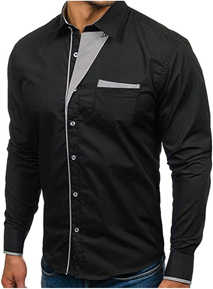 Tinani Mens Slim Fit Business Casual Cotton Long Sleeves Solid Button Down Dress Shirts