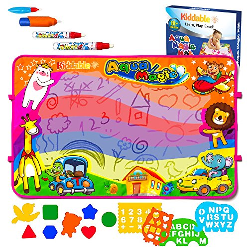 Kiddable Aqua Magic Mat, Large Kids Water Drawing Mat 6 Colors, Pens, Stencils and More! Fun Toy Girls, Boys, Toddlers Water Writing Pad, an Educational Gift for Kids!