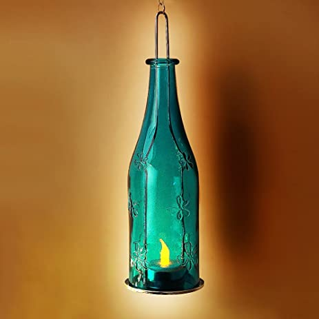 BRIGHT ZEAL Lifelike LED Hanging Wine Bottle Lights 9quot Tall Battery Metal