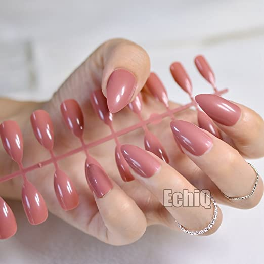 Amazon.com : CoolNail 24pcs Reddish-brown Oval Sharp end Stiletto False Nails Russet Brown Coffee Fake Nails Tips Manicure Artificial Nails Salon : Beauty