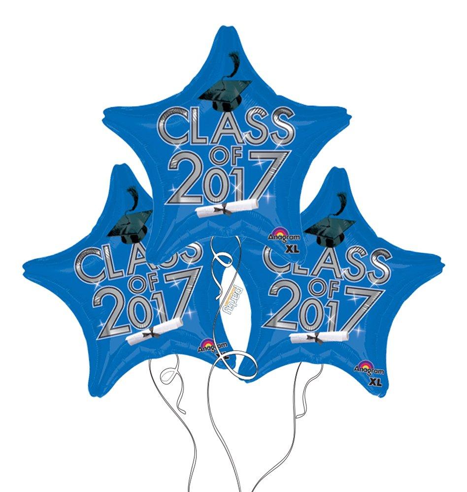 "(3) 19"" 2017 BLUE and Silver GRAD Graduation Cap Hat Diploma Star Shaped Mylar Party Balloons"