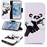 """Wallet Case for iPhone 6S 4.7"""",PU Leather Cover for iPhone 6 4.7"""",Leecase Retro Cool Pretty Tree Panda Pattern Design Flip Stand Phone Case Cover Wallet Handset Shell Bookstyle Cellphone Skin Pouch with Magnetic Closure Card Slots Folio Protective Pocket Bumper Cover Skin for iPhone 6S/6 4.7"""" + 1x Black Stylus"""