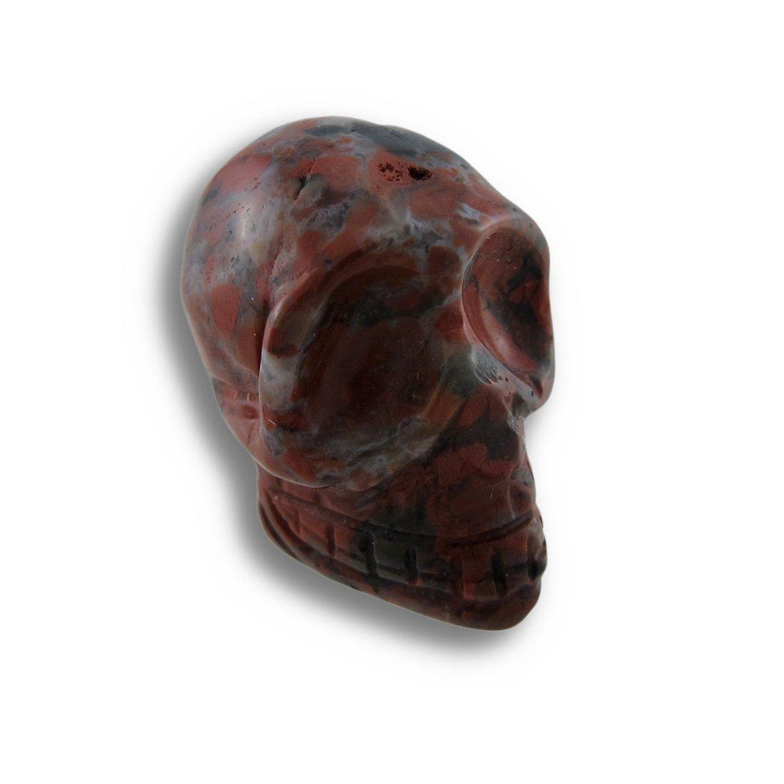 Things2Die4 Acrylic Loose Gemstones Beautiful Carved Brecciated Jasper Gemstone Skull 25Mm 1 Inch Multicolored