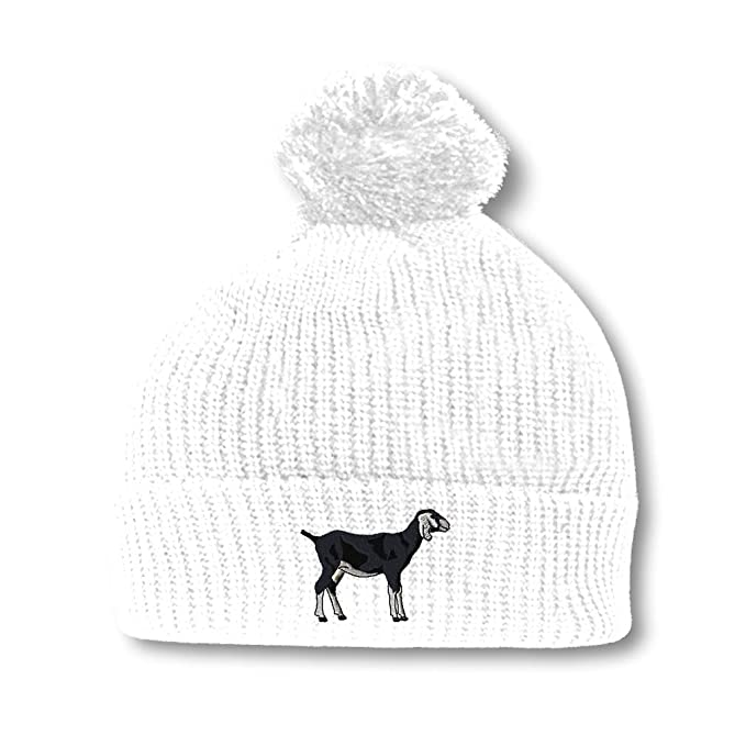 5052ffbf697b5 I Love Goats Embroidery Embroidered Pom Pom Beanie Skully Hat Cap White