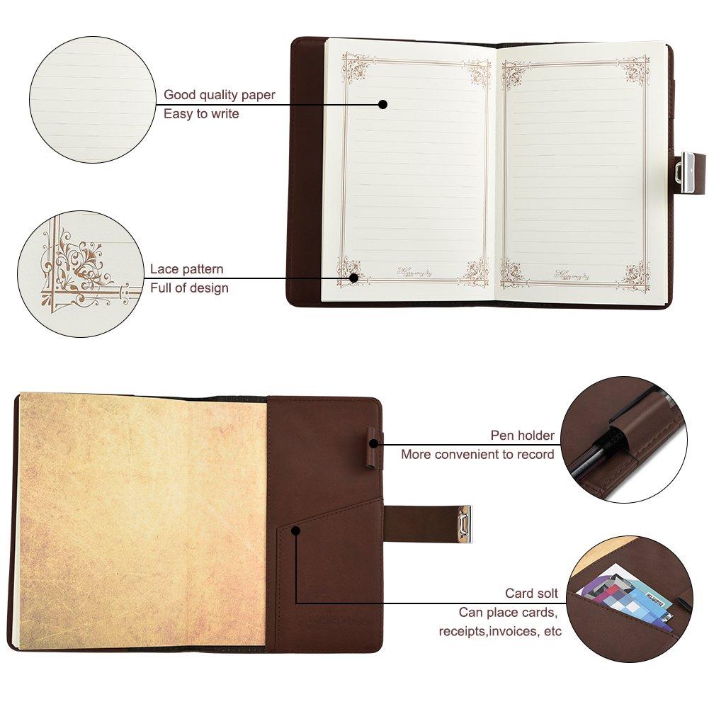 Diario in Pelle con Lucchetto Retro Notebook e Block Notes per Il Supporto Allapprendimento Cizen Quaderno Scrittura Marrone