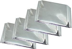 """Bytiyar 4 Packs 52"""" x 82"""" Reflective Emergency Survival Mylar Space Blanket Heat Tent Cover, Silver"""