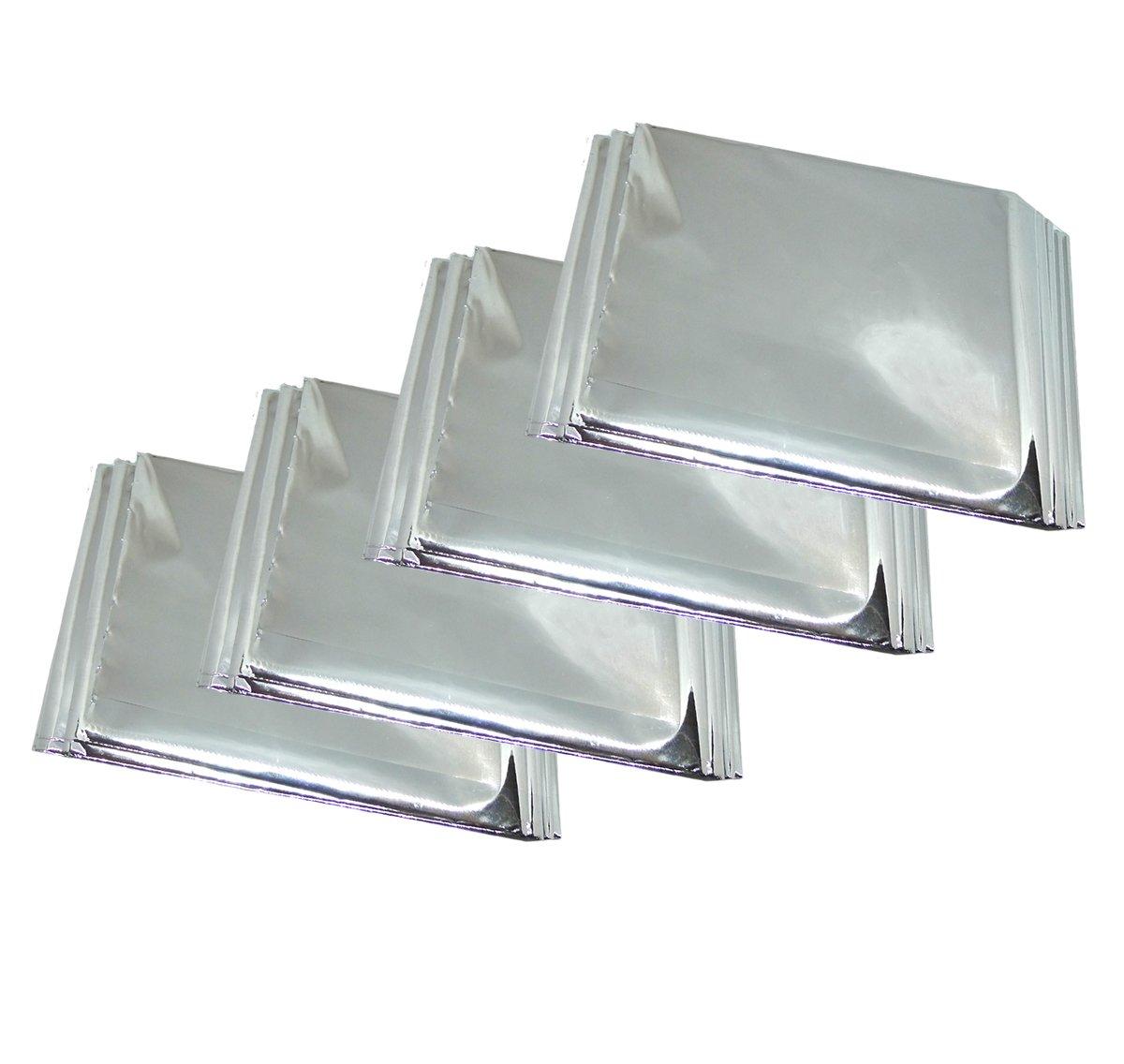 Faocean 4 Packs 52'' x 82'' Reflective Emergency Survival Mylar Blanket Heat Tent Cover, Silver