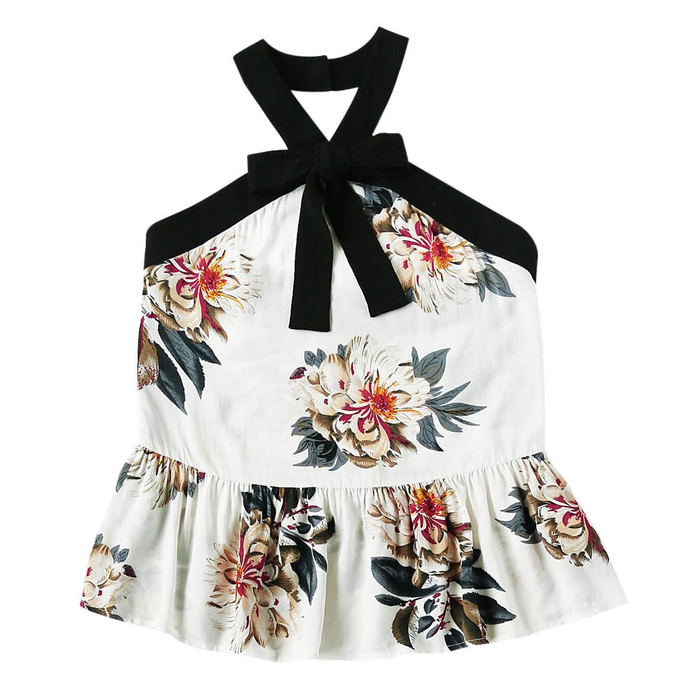 Women Floral Casual Sleeveless Vest Crop Top Tank Shirt Blouse Cami Halter White