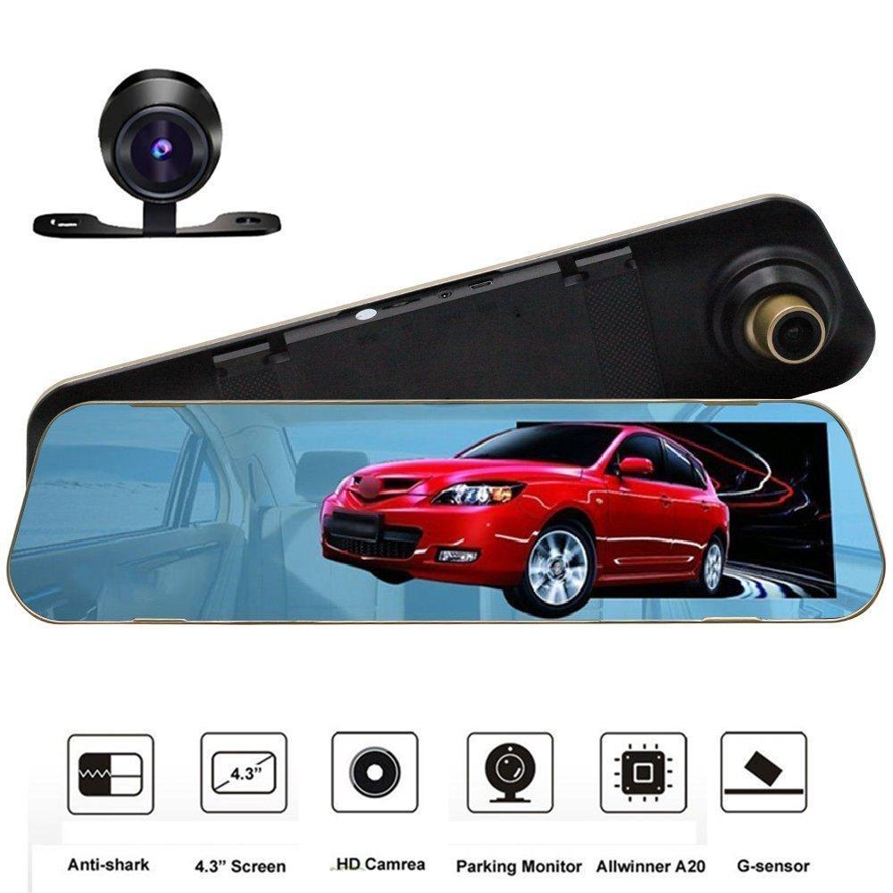 ROGUCI 4.3 '' Rétroviseur inversé Moniteur LCD + 170 degrés Grand angle Nuit Version et Waterproof Back-up Camera Car DVR Enregistreur vidéo Dash Cam Parking Sensor System Dax-Hub