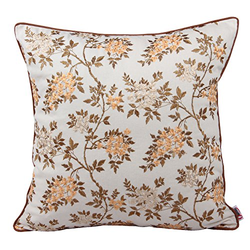 Lovely Embroidered - Queenie® -1 Pc Lovely Embroidery Cotton Linen Decorative Throw Pillow Case Pillowcase Cushion Cover 18 X 18 Inch (45 X 45 Cm) (Small Tree with Blossom Orange)