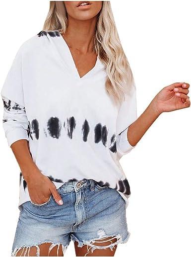 Camiseta Blusa de Las Mujeres Moda Manga Larga Cuello en V ...