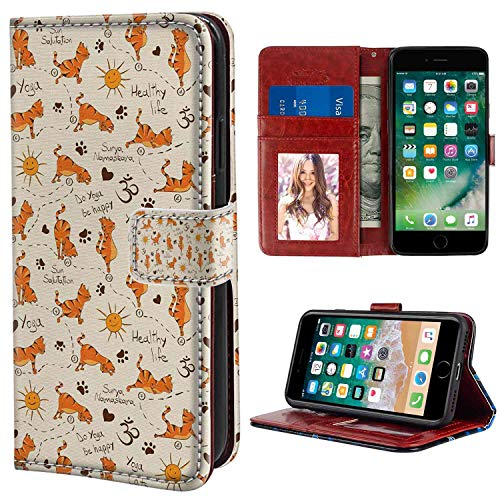 Br Cats Paw - iPhone 6 Plus, iPhone 6S Plus Wallet Case, Cat Do Yoga Be Happy Theme Orange Cats in Positions Smiling Suns Paws Prints Hearts Cream Orange Br PU Leather Folio Case with Card Holder and ID Coin Slot