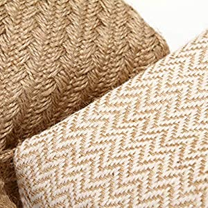 Sea-Team-Storage-Baskets-Organizer-Box-Bins-in-Jute-and-Cotton-Linen-Foldable-with-Handle-Decorative-for-Home-Toiletry-Stationery-Sundries-Toys-Jewerly-Color-Beige-14-17-16CM-2PCS