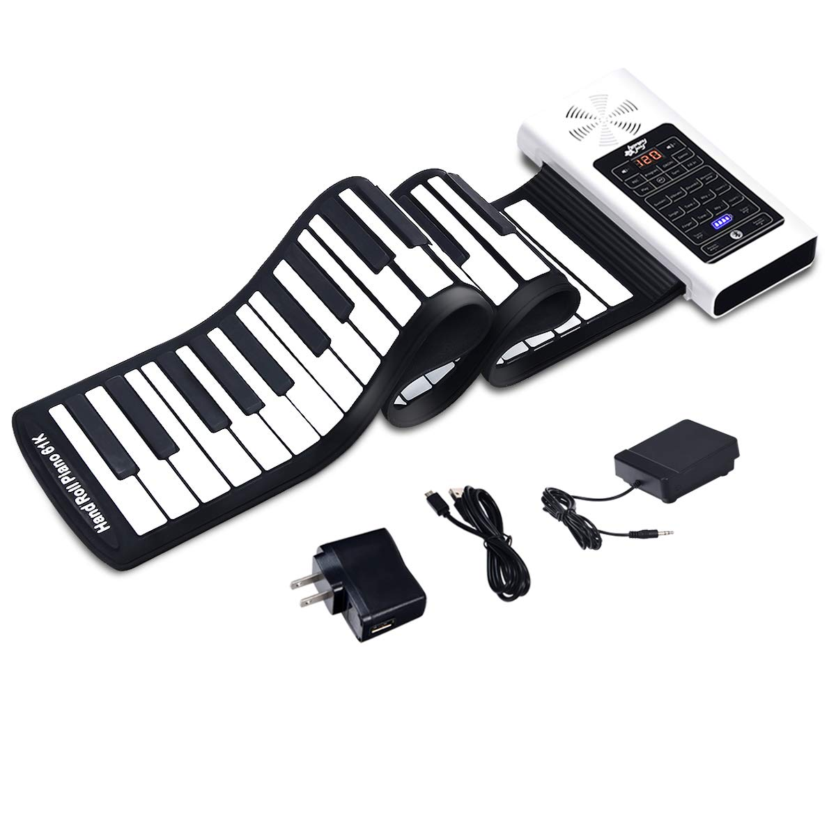 Electric Roll Up Piano, Safeplus Portable Foldable 61 Keys Flexible Soft Silicone Electronic Music Keyboard Piano, Battery or USB Powered with Louder Speaker by Safeplus