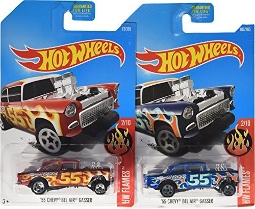 Hot Wheels 2017 HW Flames '55 Chevy Bel Air Gasser 2/10, Set of 2 Cars: Blue & Red