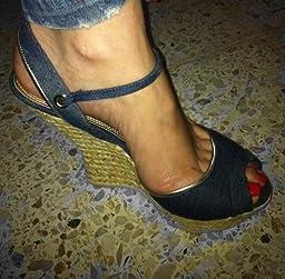 Amazon.com | bebe Women's Steffi Espadrille, Blue, 6 M US | Sandals