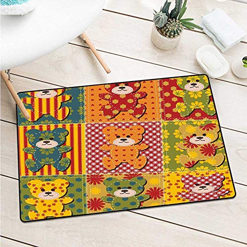 Cabin Decor Universal Door Mat Colorful Kids Room Pattern with Patchwork Style Teddy Bears Cute Funny Childish Catch Dust Snow and Mud (W23.6 X L35.4 inch,Multicolor) ()