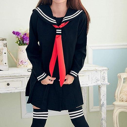 Uniforme de marinero japonés de manga larga,Bloomma camisas de vestir de marinero de niñas japonesas clásicas uniformes Disfraces de cosplay de anime con conjunto de falda plisada de moda: Amazon.es: Hogar