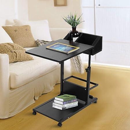 SOULONG - Mesa de Cama con Ruedas para Ordenador portátil ...