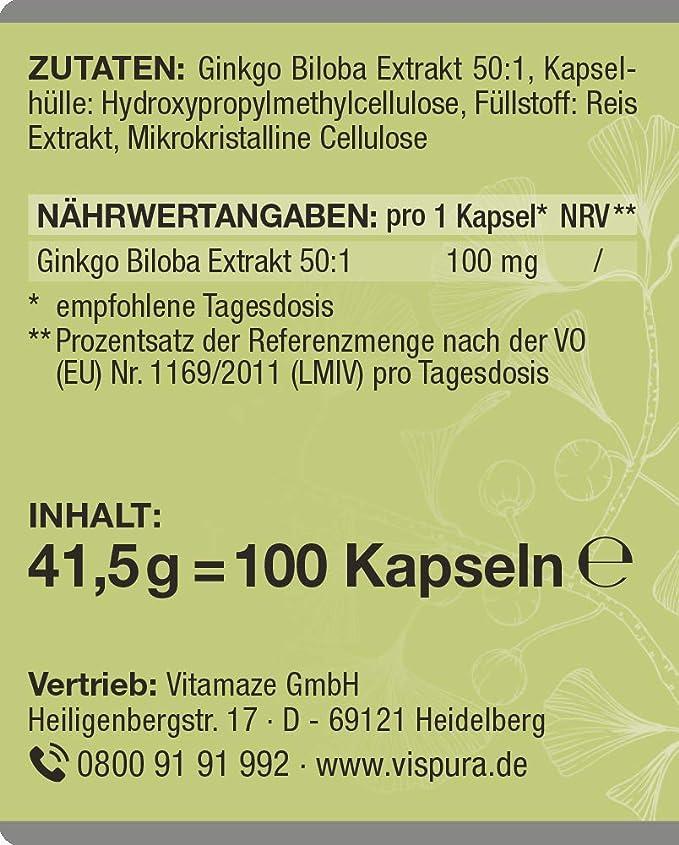 VISPURA® Ginkgo Biloba Extracto 50:1 100 mg=5000 mg de polvo de ...