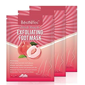 Foot Peel Mask 3 Pack, Exfoliating Foot Masks, Natural Exfoliator for Dry Dead Skin, Callus, Repair Rough Heels for Men Women (Peach)